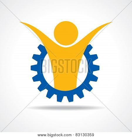 Welcoming person concept. man icon in gear wheel