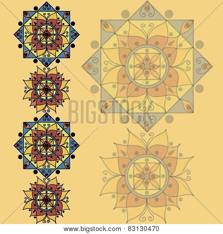Yellow pattern with mandalas