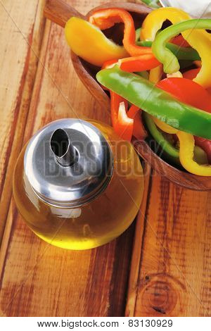 peppers and sour cream over wooden tables