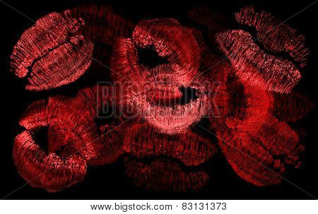 red lips imprints isolated on white background