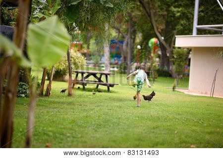boy playing with chickens