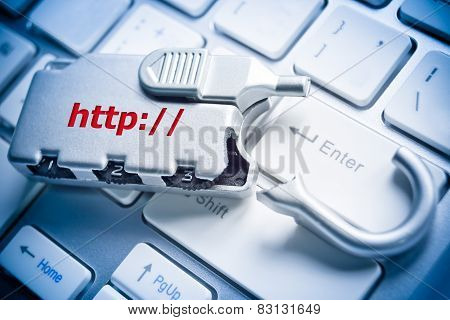 broken security lock with http on computer keyboard