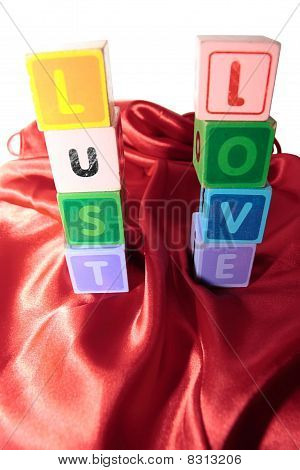 Lust And Love In Letter Blocks On Silk Nightie