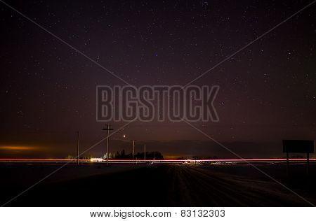 Streak of light at night