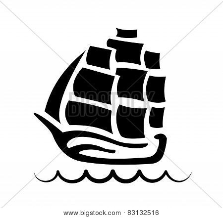 Silhouette Galleon In The Sea