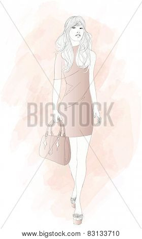 Fashion woman model with a bag - vector illustration