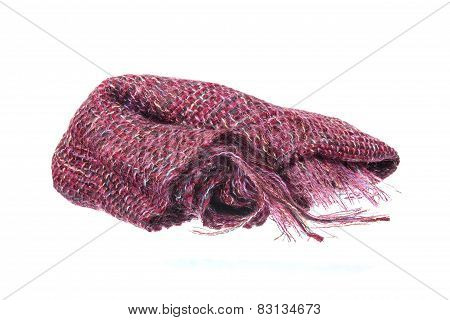 Colourful Handmade Neckwear Or Scarf Of Woolen Knitted Fabric Texture
