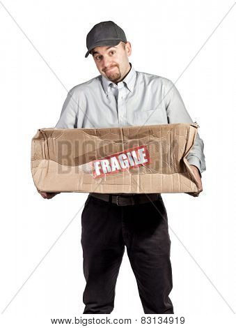 delivery man and broken parcel