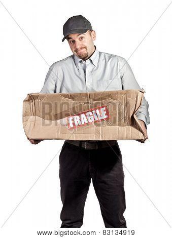 delivery man and broken parcel