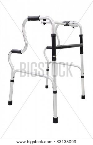 Adjustable folding walker for elderly, disabled isolated on white