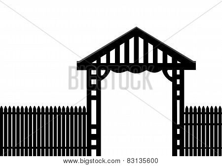Black Fence White Background