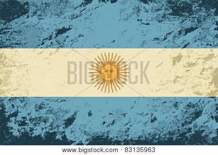 Argentinean flag. Grunge background. Vector illustration