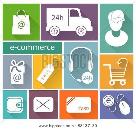 Business, E-commerce And Delivery Flat Icons Set