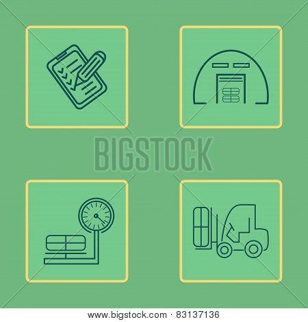 Warehouse Icons Flat Line Set