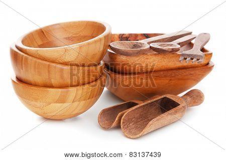 Natural bamboo and wooden kitchenware