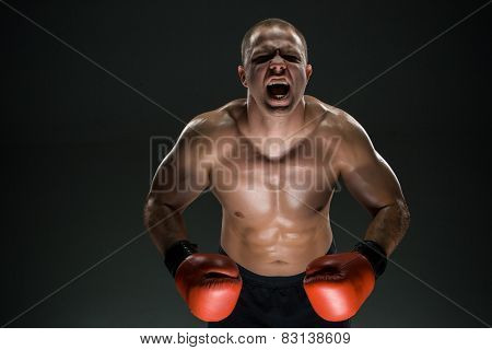 Muscular Man Screaming And Roar