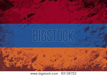 Armenian flag. Grunge background. Vector illustration
