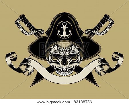 Illustration of pirate skull.