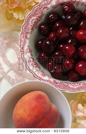 Peach and Cherries