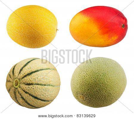 Fresh Mango fruit, ripe cantaloupe melon on white background.
