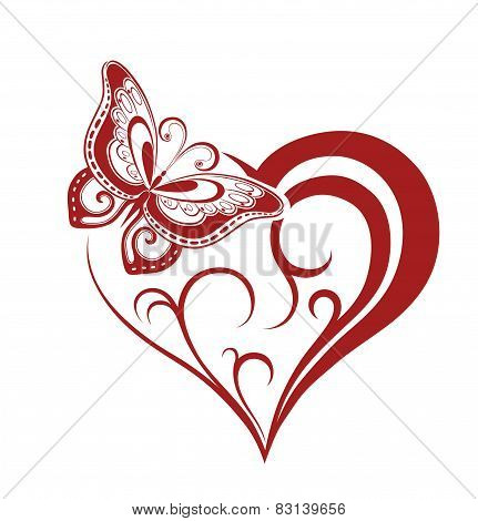 Decorative Composition Of Curls And Ornamented Abstract Silhouette Butterfly And Heart