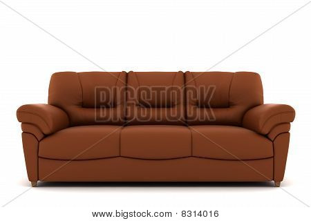 brown leather sofa isolated on white background with clipping path