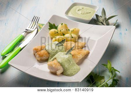 fish fillet with yogurt cream sauce