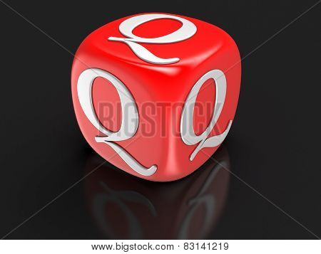 Dice with letter Q (clipping path included)