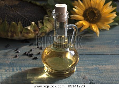 Sunflower Seeds In The Bag, And Sunflower Oil In A Bottle