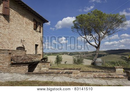Ancient Farmhouse In The Beautiful Tuscany Landscape