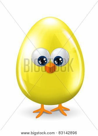 Yellow Easter Egg With Eyes, Beak And Legs Isolated Over White Background