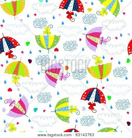 Seamless background with colorful umbrellas
