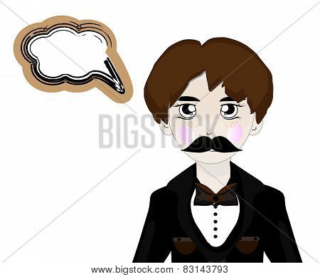 Vector illustration of cartoon mafia man with speech bubble