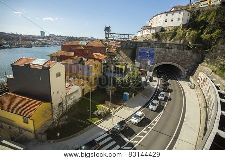 PORTO, PORTUGAL - FEB 17, 2015: Ribeira, view of Douro river at Porto. In 1996, UNESCO recognised Old Town of Porto as a World Heritage Site.