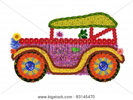 Retro Car From Flowers