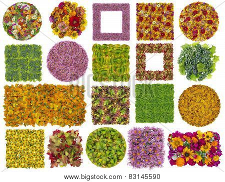 Simple Square And Round Floral Textures Background