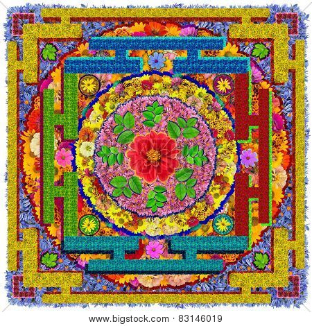 Isolated Floral Buddha's Square Mandala