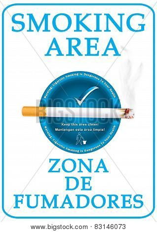 English and Spanish Smoking Area sticker for print