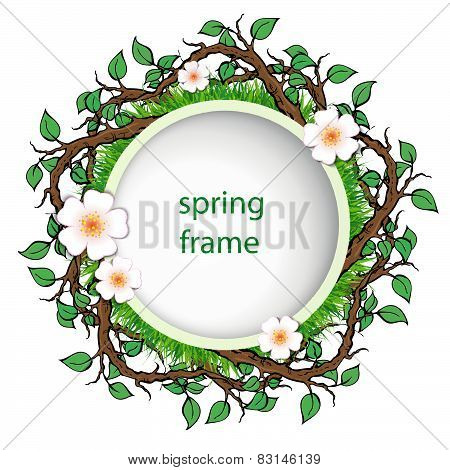 Spring Frame With Grass And Leaves