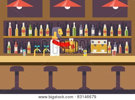Bar Restaurant Cafe with Barkeeper Character Symbol Alcohol House Interior Icon Background Concept F