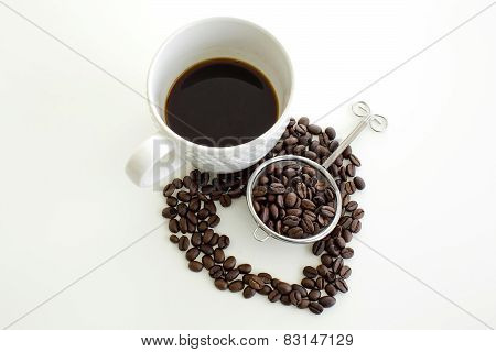 Coffee Cup And Coffee Bean Line Heart Shape On White Background