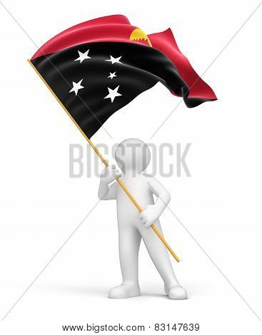 Man and Papua New Guinea flag (clipping path included)