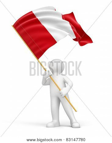 Man and Peruvian flag (clipping path included)