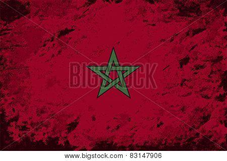 Moroccan flag. Grunge background. Vector illustration