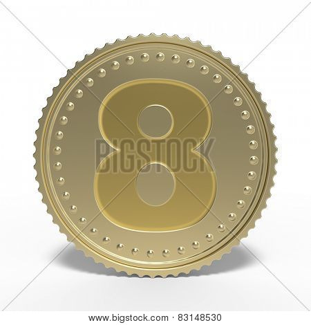 Golden number 8 isolated on white background