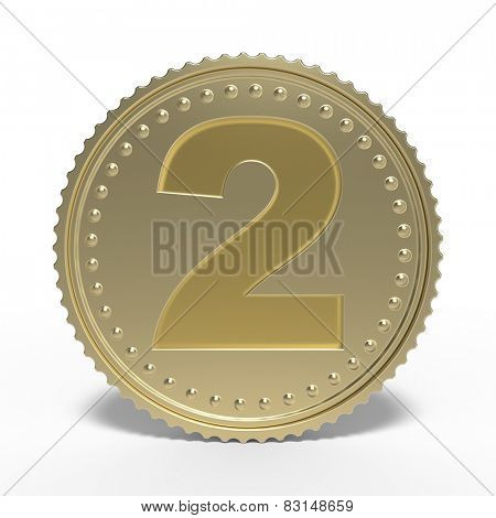Golden number 2 isolated on white background