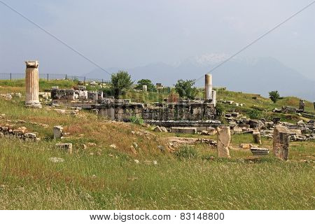 Ruins Of The Ancient City Of Hierapolis At Spring Time, Turkey
