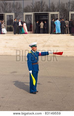 Pyongyang - April 19: Operators Of Traffic On The Roads April 19, 2012 in Pyongyang, North Korea .