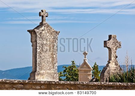 Old Tombstones At Antique European Cemetery