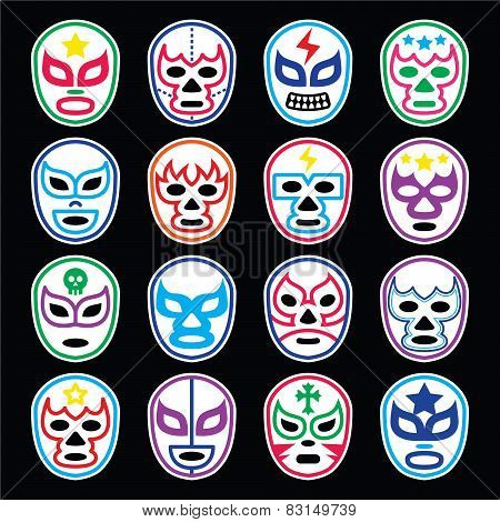 Lucha Libre Mexican wrestling masks icons on black
